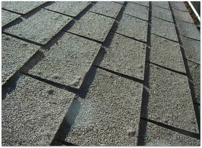 Blistered asphalt roofing shingle