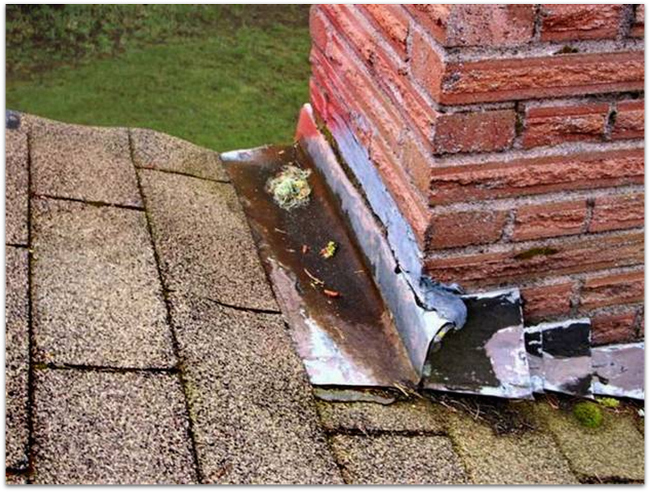Example of Damaged Roof Flashing by Drawdy Roofing & Vinyl Siding