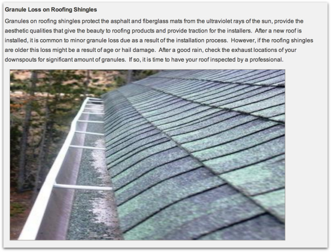 Granule Loss of Roof by Drawdy Roofing