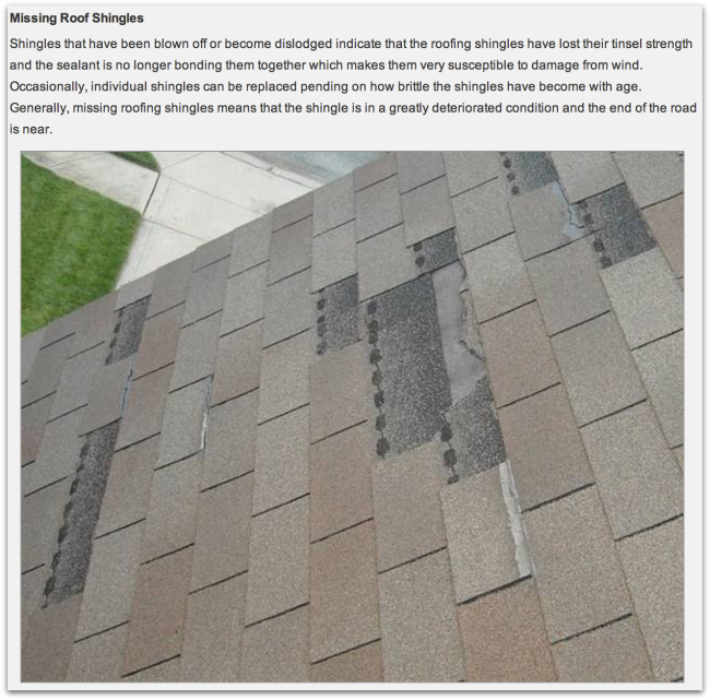 Missing Shingles shown by Drawdy Roofing