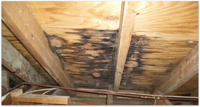 Roofing water damage example by Drawdy Roofing & Vinyl Siding